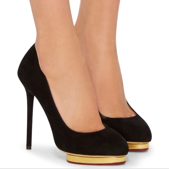 f413c415340 Charlotte Olympia Shoes - Charlotte Olympia Dotty Black Suede Pumps 8.5